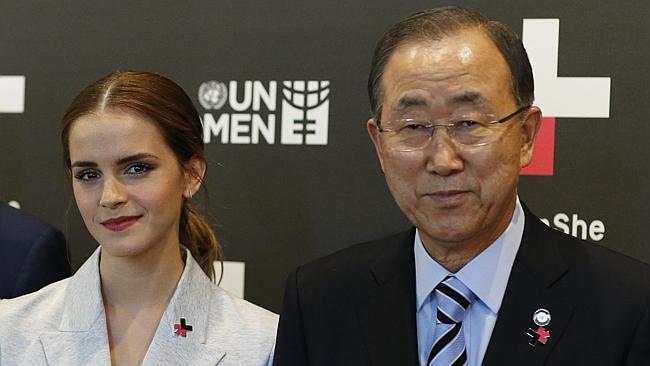 Emma Watson y Ban Ki-Moon, secretario general de la ONU