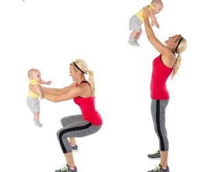 ejercitarnos con nuestro bebé - Sentadilla Press